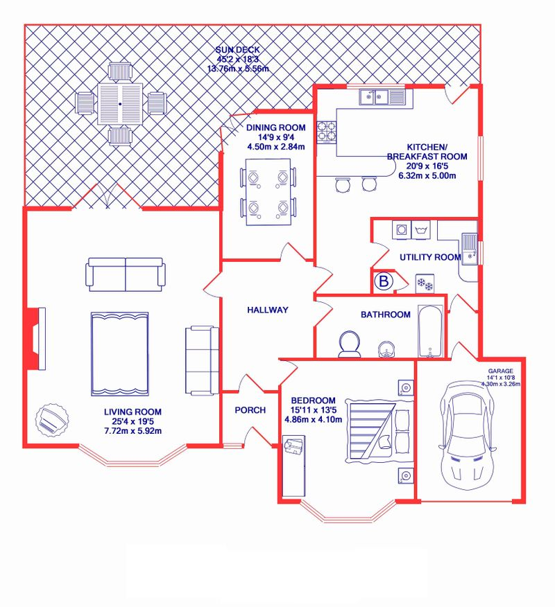 3BedHouse-print red & blue plan