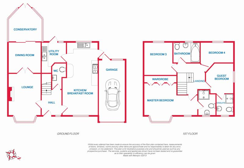Whiteknights Example 4 bed floor plan with Colour