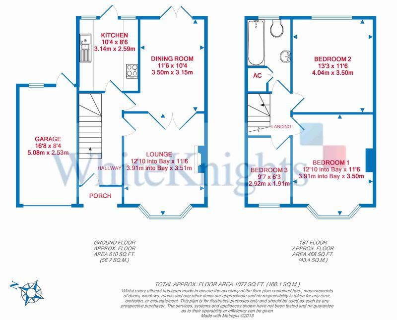 Whiteknights Example 3 bed floor plan with Logo & Colour